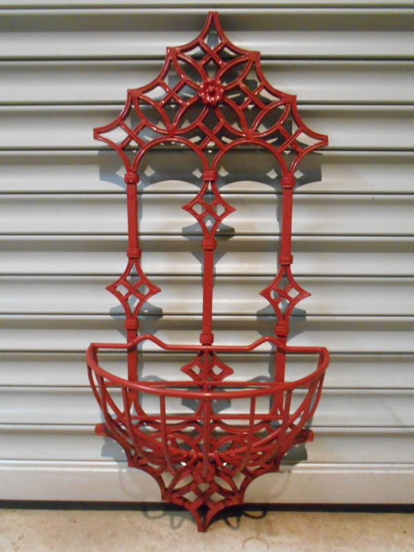Berry Red Wrought Iron Wall Planter